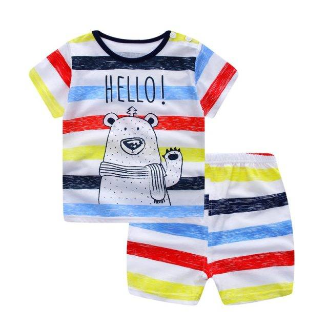 Baby Boy's Summer Cute Whale Printed Clothing Set