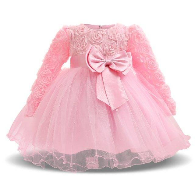 Baby Girl's Elegant Bow Embellished Dress