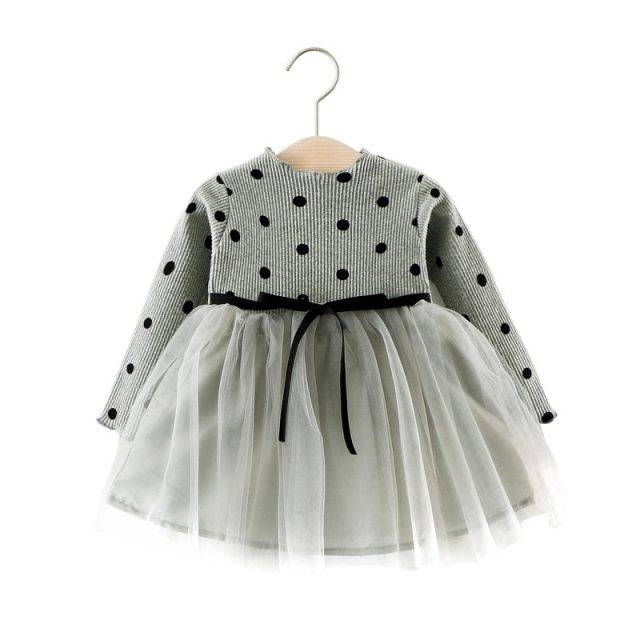 Baby's Cute Long Sleeved Cotton Dress with Bow