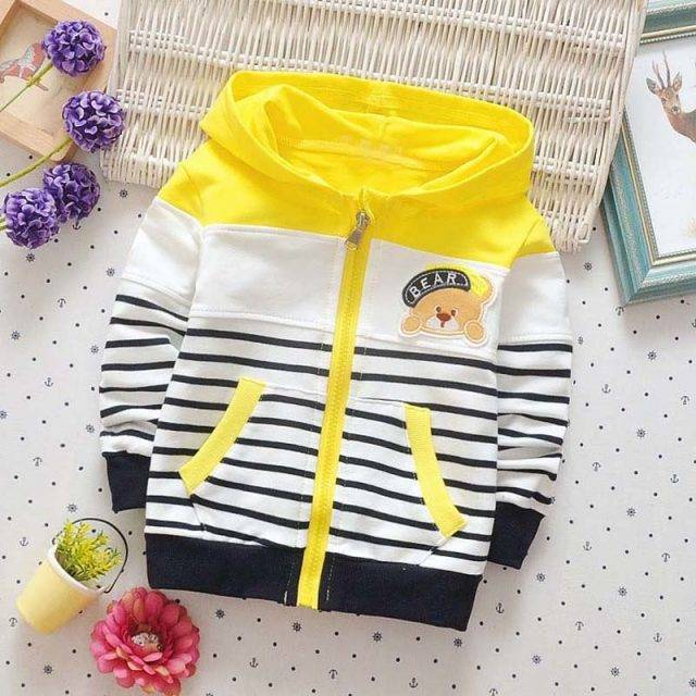 Casual Long Sleeve Striped Hooded Jacket for Baby Boys