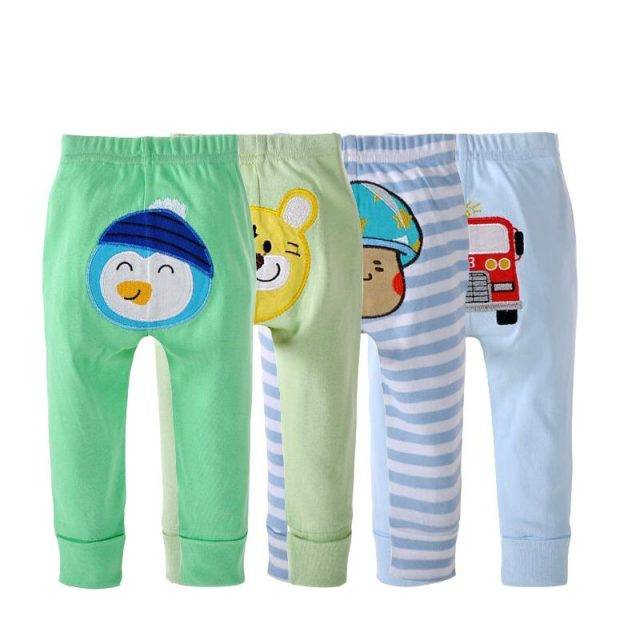 Baby Boy's Funny Cotton Printed Pants 4 pcs Set