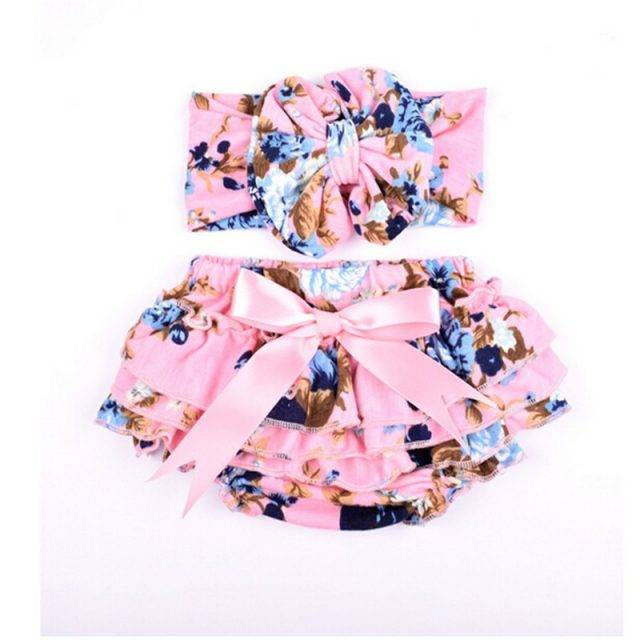 Cute Bow Decoration Cotton Shorts with Headband for Baby Girls