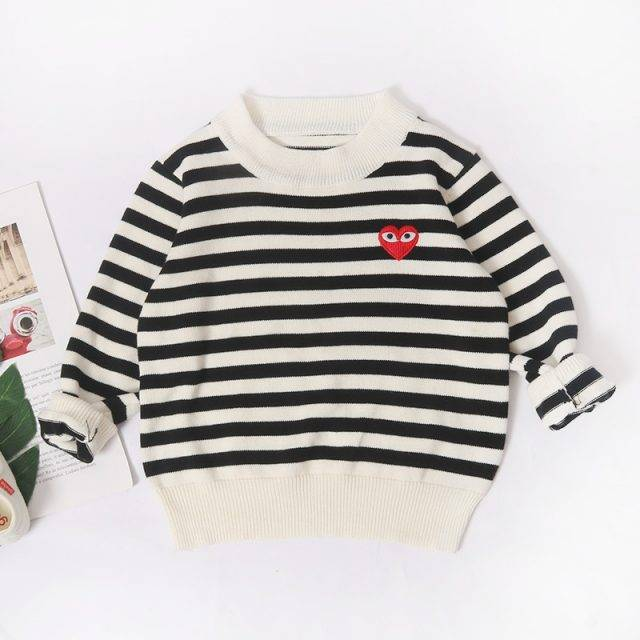 Casual Striped Design Cotton Sweater