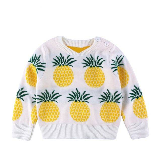 Pineapple Embroidered Sweater for Girls