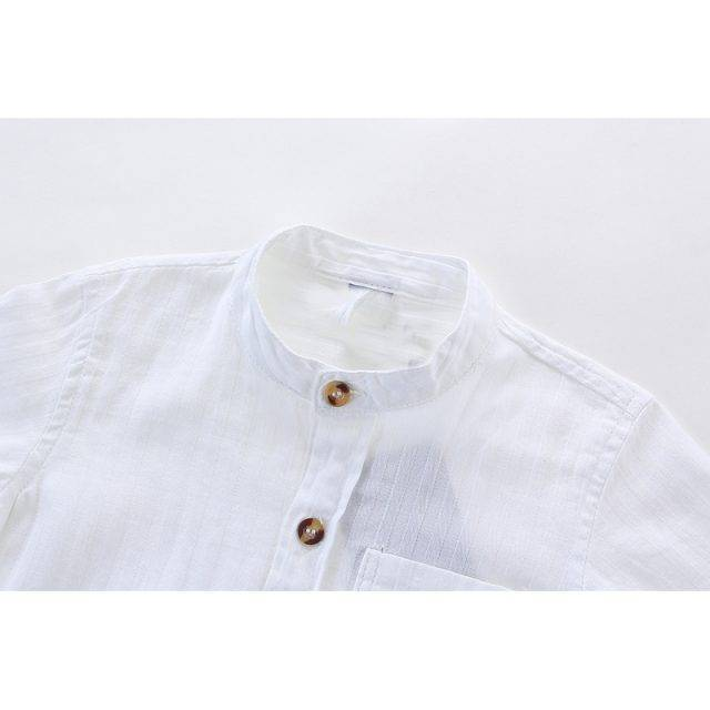 Boys' Short Sleeved White Cotton Shirt
