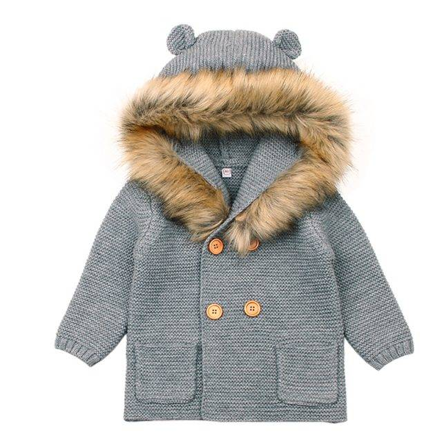 Warm Knitted Hooded Coat for Babies