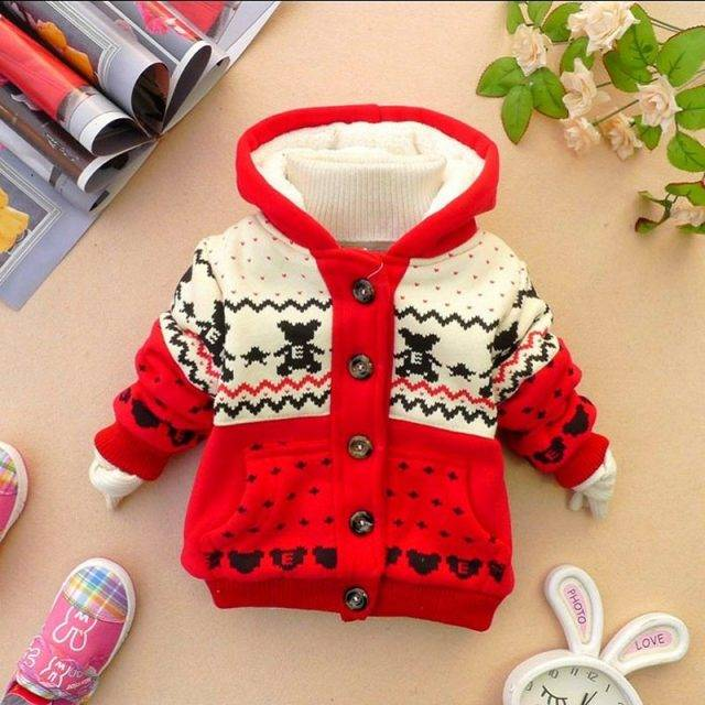 Fashion Warm Hooded Patterned Jacket for Babies