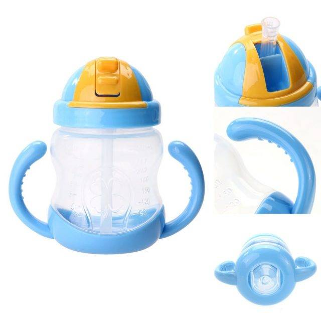 Colorful Baby Feeding Bottle with Straw