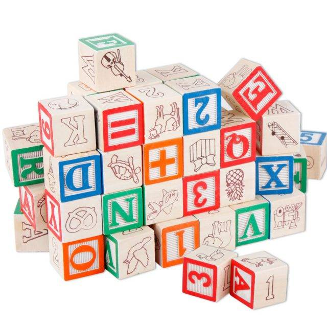 Alphabet and Counting Educational Wooden Cubes