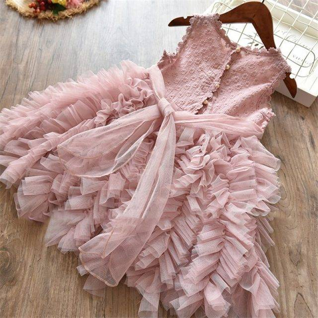 Cute Sleeveless Plain Polyester Dress Flower Girl Dresses